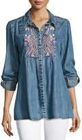 Tolani Kristy Embroidered Chambray Shirt, Plus Size