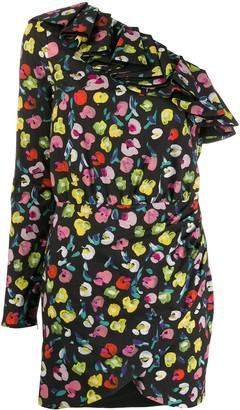 Amen Abstract Floral-Print Asymmetric Dress