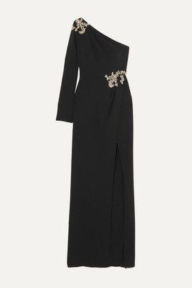 Marchesa One-sleeve Embellished Stretch-crepe Gown - Black