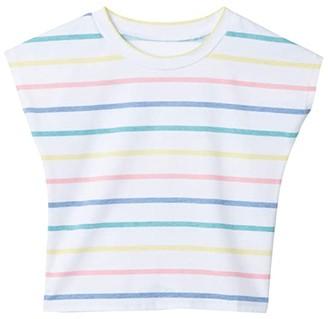 Chaser Vintage Jersey Cap Sleeve Vent Back Tee (Toddler/Little Kids) (Multi Stripe) Girl's Clothing