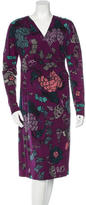 Etro Wool Floral Wrap Dress