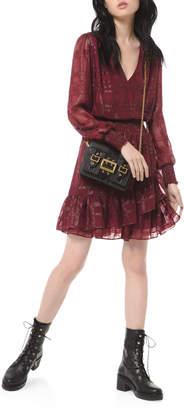 MICHAEL Michael Kors Shiny Plaid Long-Sleeve Smock-Waist Ruffle Dress