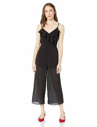 The Fifth Label Women's Window V Neck Sleeveless Jumpsuit with Ruffle Detail