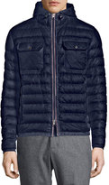 Moncler Douret Quilted Nylon Jacket with Hood, Navy