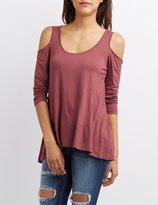 Charlotte Russe Cold Shoulder Scoop Neck Tee
