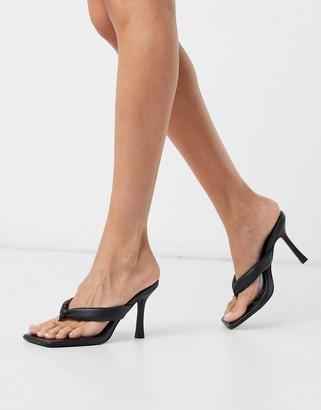 Public Desire Blondie mules with toe post in black