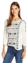 Lucky Brand Women's Geo Embroidered Top in Whisper White