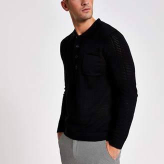 River Island Black long sleeve slim fit knitted polo shirt