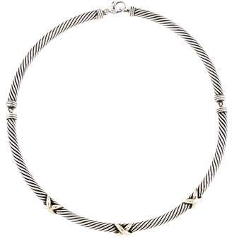 David Yurman Two-Tone Cable X Collar Necklace