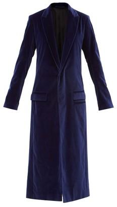 Haider Ackermann Single-breasted Cotton-blend Velvet Coat - Blue