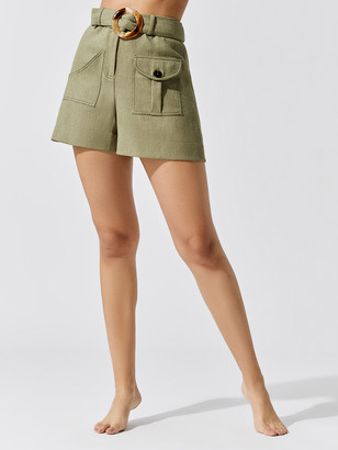 PatBO Belted Linen Shorts