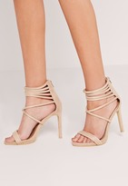 Missguided Strappy Cuff Heeled Sandals Nude