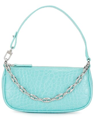 BY FAR Crocodile-Effect Shoulder Bag With Chain-Link Detail