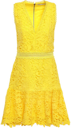 Alice + Olivia Gathered Guipure Lace Mini Dress