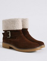 Marks and Spencer Wide Fit Suede Block Heel Fur Ankle Boots