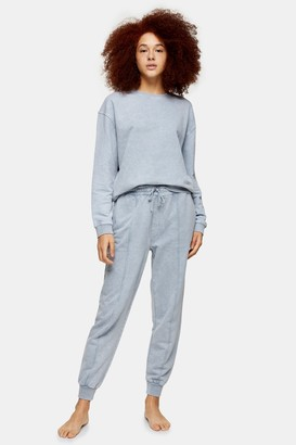 Topshop Womens Blue Acid Wash Joggers - Denim