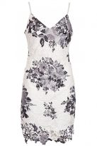 Quiz White and Black Crochet Floral Print Bodycon Dress