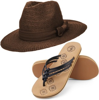 Aerusi Women's Coco Keys Year Round Floppy Straw Sun Hat and Foam Sandals Bundle Set Flip-Flop