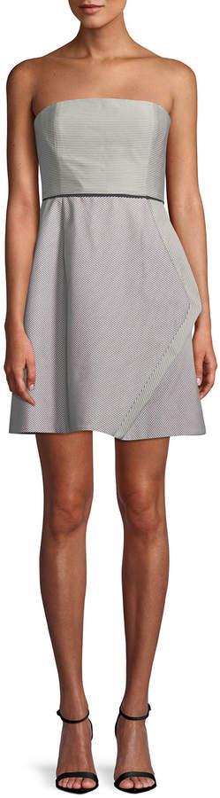 Halston Striped Strapless Cocktail Dress w/ Folded Drape