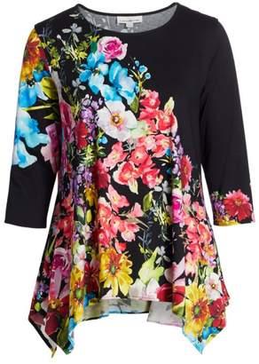 Caroline Rose Fresh & Flirty Floral Stretch Knit Top