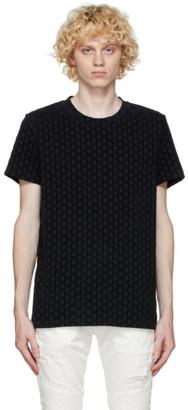 Balmain Black Flock Monogram T-Shirt