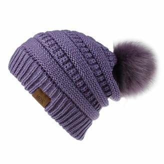 Frobukio Winter Hats for Women Soft Fleece Line Beanie Hat with Faux Fur Bobble Pom Pom Hats (Purple One Size)