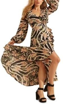 GUESS Ruffled Zebra-Floral-Print Maxi Dress