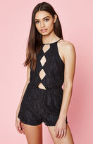 KENDALL + KYLIE Kendall & Kylie Lace High Neck Cutout Romper