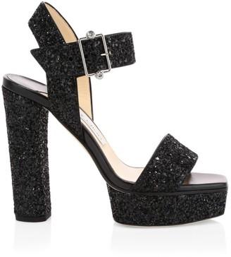 Jimmy Choo Maie Glitter Platform Sandals