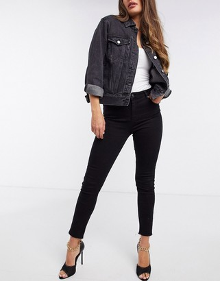 NA-KD zip detail high waisted skinny jeans in black