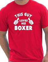 Print4u This Guy Loves His Boxer Dog Mens T-Shirt Large