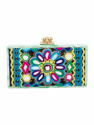 Edie Parker Embroidered Jean Box Clutch Green