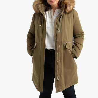 La Redoute Collections Plus Cotton Mix Parka with Faux Fur Hood and Pockets