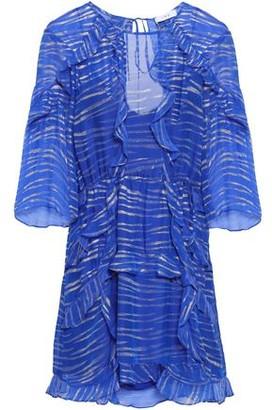 IRO Ruffled Metallic Striped Georgette Mini Dress