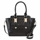 Miztique Women's Faux Leather Double Handle Winged Satchel Handbag - Black