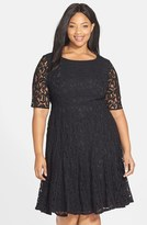 Adrianna Papell Plus Size Women's Lace Fit & Flare Dress