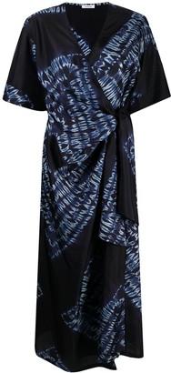 P.A.R.O.S.H. Tie-Dye Wrap Silk Dress