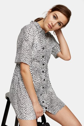 Topshop Womens Black And White Grunge Shirt Mini Dress - Monochrome