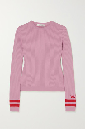 Valentino Intarsia Ribbed-knit Sweater - Pink