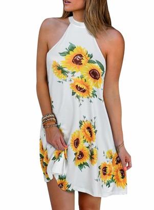 LOSRLY Women's Sexy Halter Sleeveless Sunflower Open Back Summer Beach Mini Dress Above Knee White M