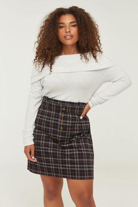 Ardene Plus Size Buttoned Paper Bag Skirt