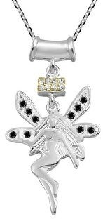 Aeravida Handmade Magical Fairy Sparkling Cubic Zirconia on .925 Sterling Silver Necklace