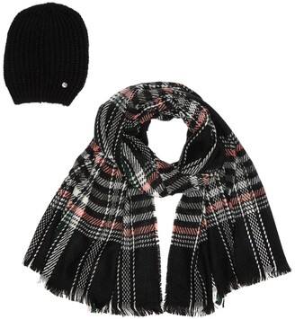 Modena Knit Beanie & Airspun Plaid Scarf 2-Piece Set
