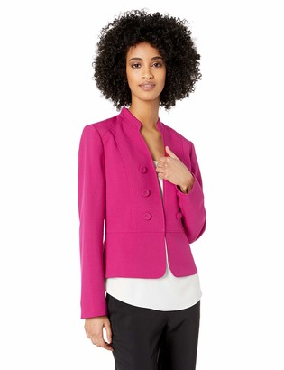 Kasper Women's 6 Button Stand Collar Drapey Crepe Jacket