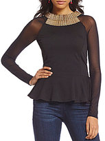 Moa Moa Mesh Sleeve Gold Hardware Peplum Top