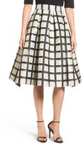 Eliza J Windowpane Metallic Jacquard Midi Skirt