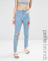 Noisy May Petite Watermelon Embroidered Mom Jean