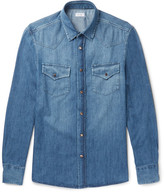 Brunello Cucinelli Slim-Fit Washed-Denim Shirt