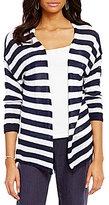 M Made in Italy Long Sleeve Open Front Striped Cardigan
