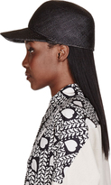 Stella McCartney Black Straw & Crocodile Skin Hat